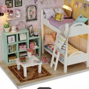 mini slaapkamer met stapelbed